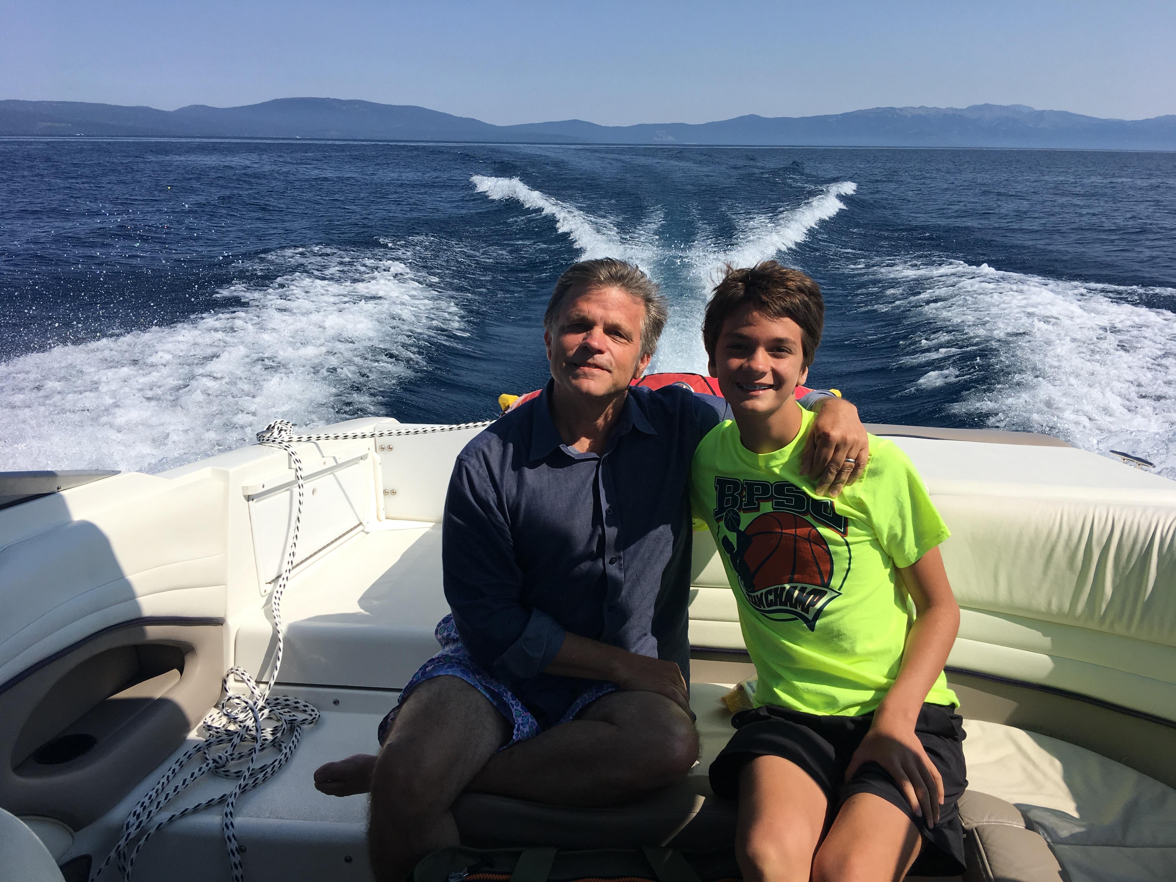 Douglas Brinkley and son Johnny Brinkley Lake Tahoe