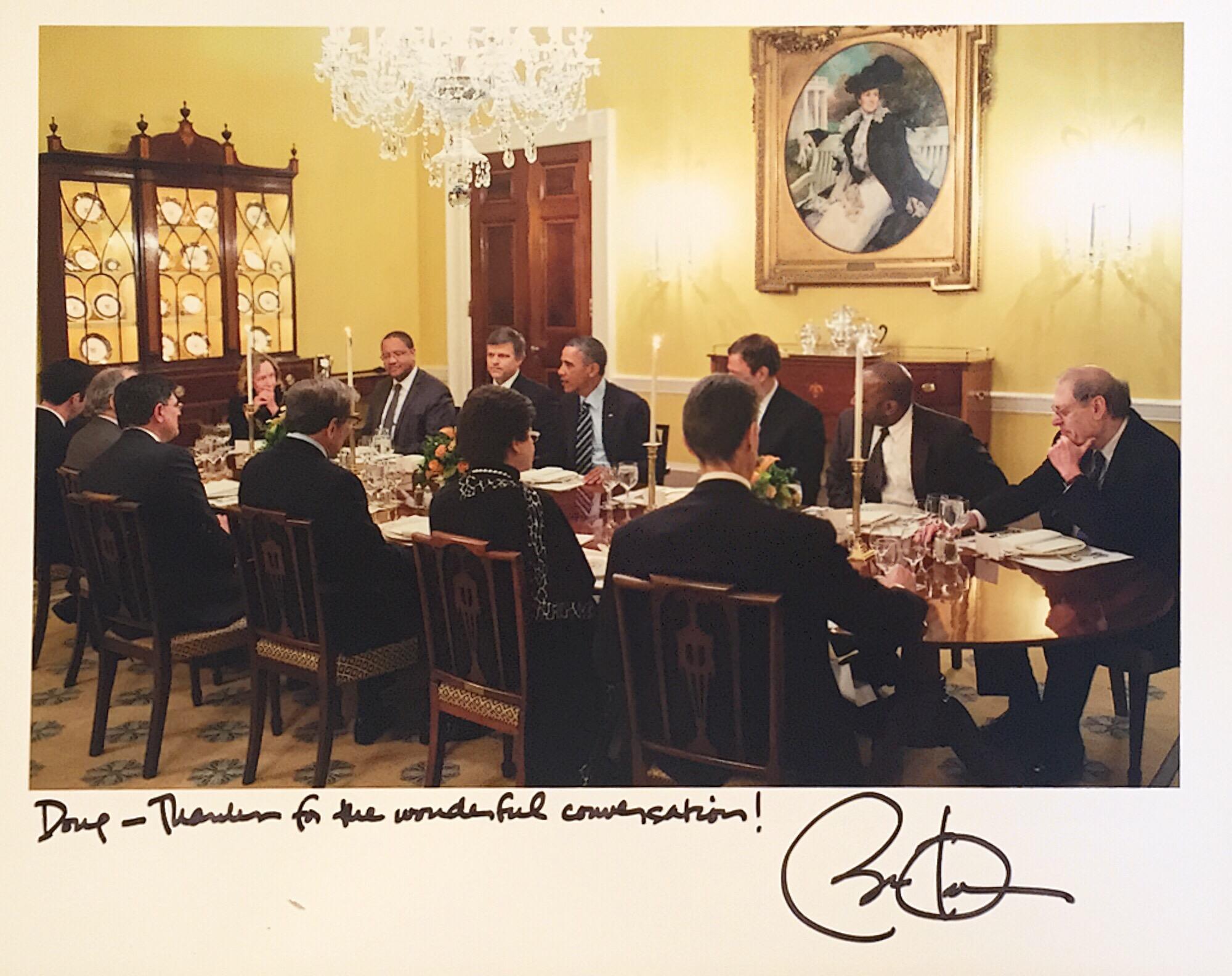 Douglas Brinkley at the White House with Barak Obama