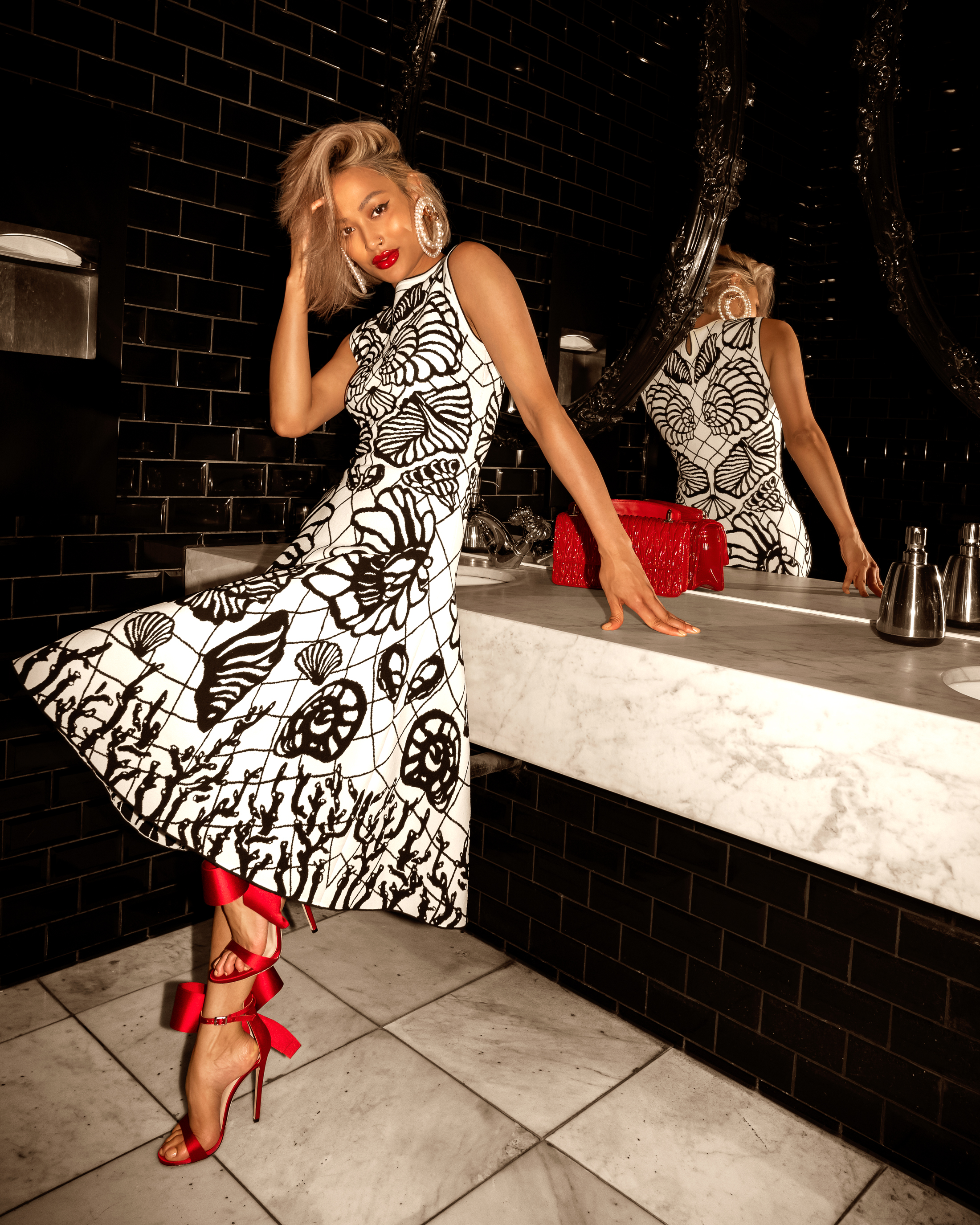 Black and White Selfridges Dress Red Shoes Pearl Earrings