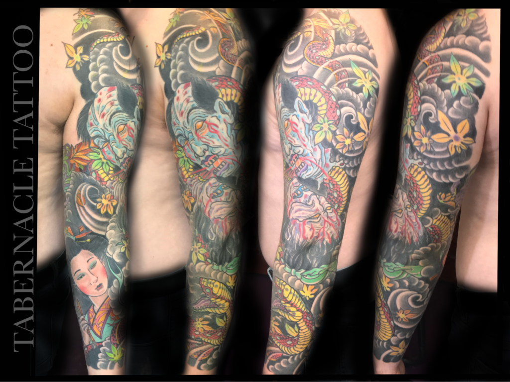 Japanese Namakubi tattoo| irezumi| also known as a severed head| Japanese Geisha Tattoo