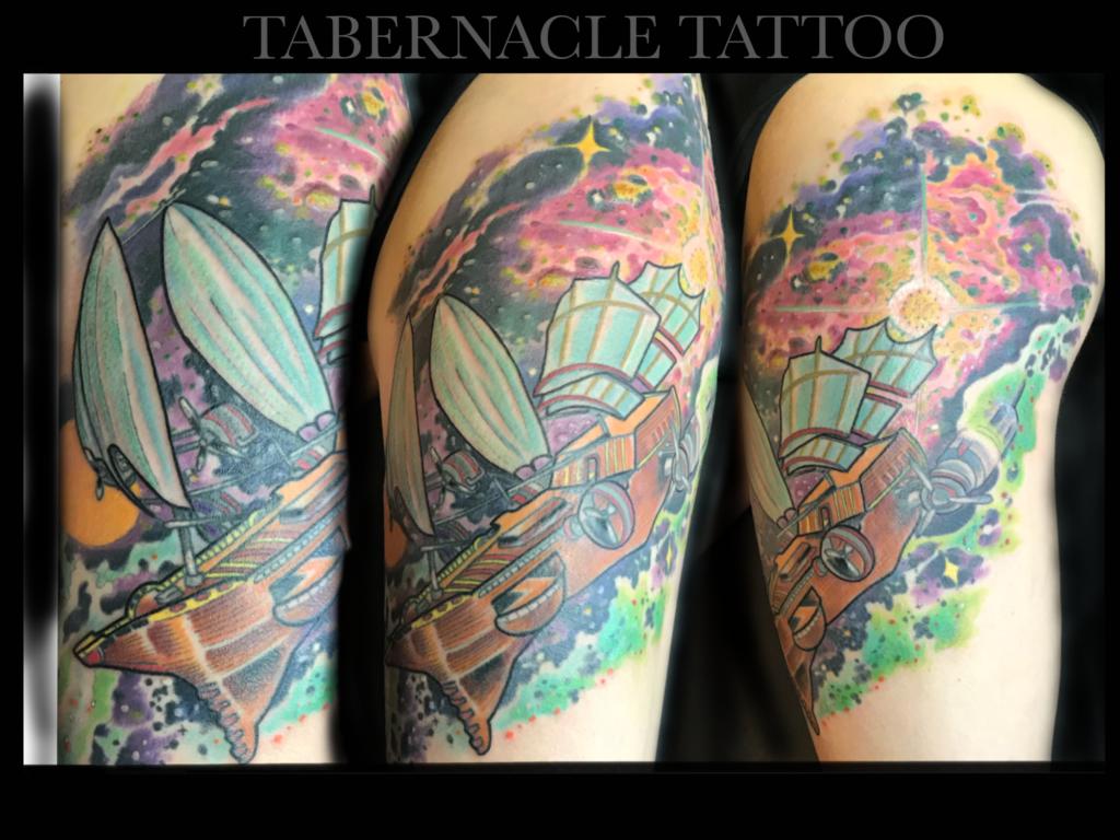 Space Ship Tattoo| Space Shuttle| Astronaut Tattoo
