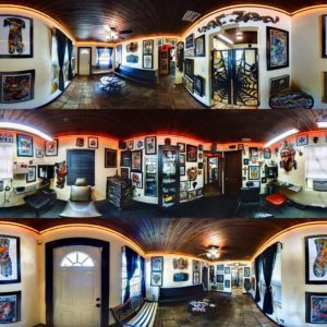 inside view of tattoo shop interior 360 neon lights painting art station