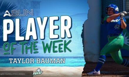 FGCU Softball player Bauman Named ASUN Softball Player of the Week