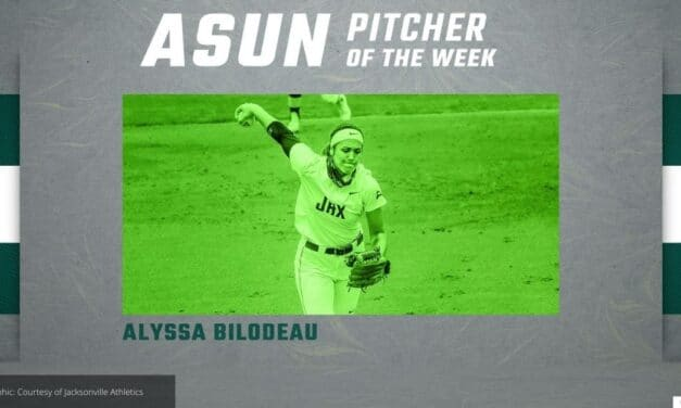 Jacksonville softball player BILODEAU'S BIG WEEKEND LEADS TO ASUN PITCHER OF THE WEEK AWARD