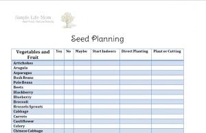 Seed Planning Free Prinatable