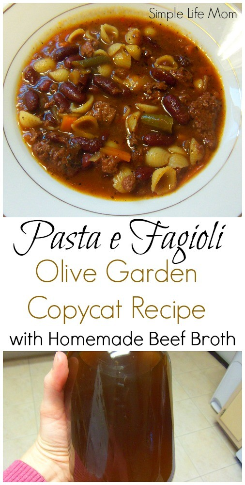 Pasta e Fagioli Olive Garden Copycat Recipe with Homemade beef bone broth from Simple Life Mom