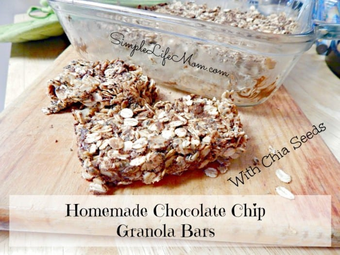 Homemade Chocolate Chip Granola Bars with Chia Seeds for added protein. Add honey (if needed), peanut butter, coconut oil, and oats and you're done! Quick and Easy Snack Idea! from @SimpleLifeMom