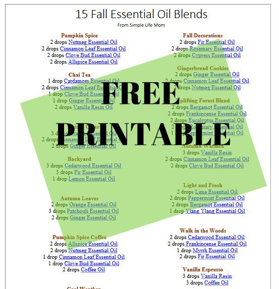 15 Fall Essential Oil Diffuser Blends Printable from Simple Life Mom