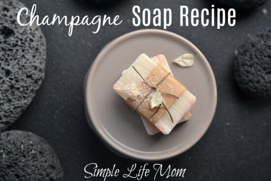 Champagne Soap Recipe - a great gift idea. Natural Cold process soap recipe with essential oils from Simple Life Mom
