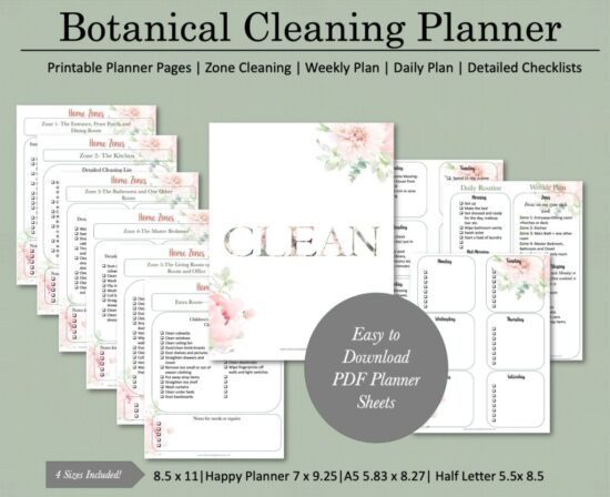 Homestead Blog Hop Feature - Botanical Cleaning Planner