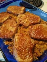 Homestead Blog hop Feature - Golden Pork Chops over Corn Pudding