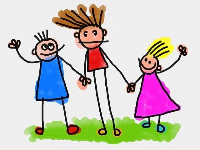Cartoon kids holding hands