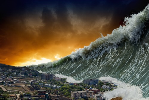 Apocalyptic,Dramatic,Background,-,Giant,Tsunami,Waves,Crashing,Small,Coastal