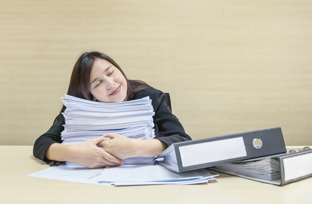 Closeup,Happy,Working,Woman,Sleeping,After,She,Finish,Her,Work