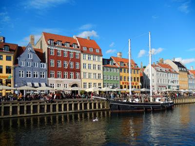 Boat and Building in Nyhavn Copenhagen Denmark