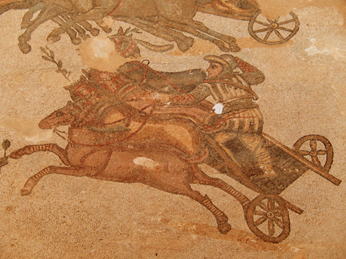 mosaic depicts chariot race in Sicily