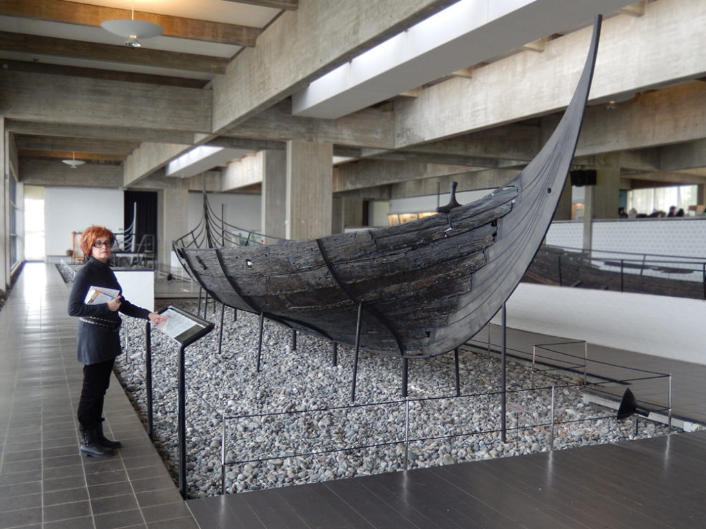 viking ship in a large room of the museum