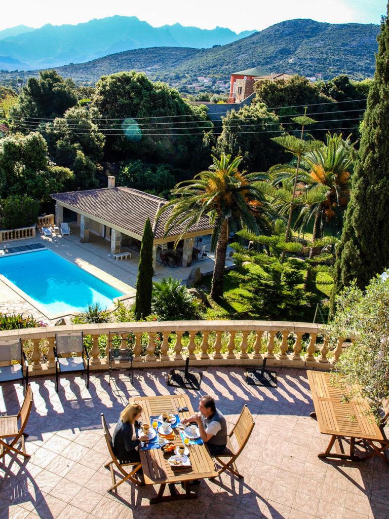 Breakfast terrace at the Manor Russum, Calvi, Corsica.