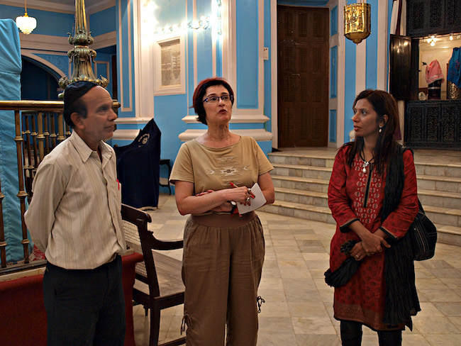 Irene Shaland and guides inside the Mumbai Mogen David Synagogue