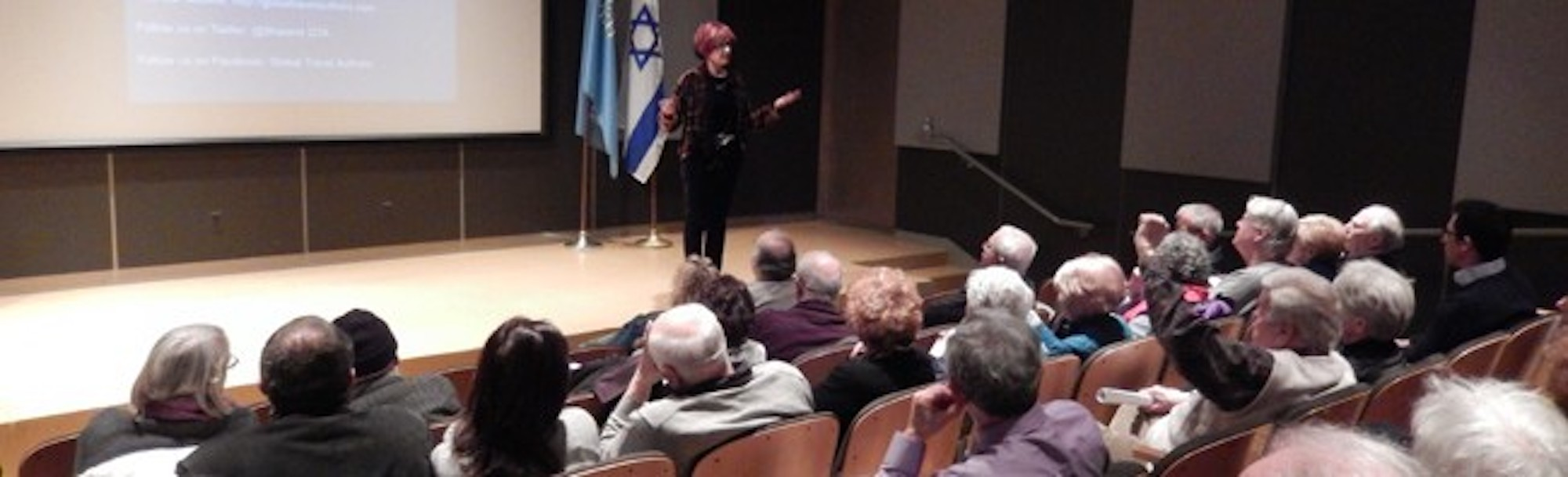 Irene Shaland presenting a lecture at the Maltz Museum of Jewish Heritage