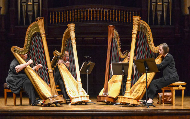 The LA Harptette, a Los Angeles based Harp quartet consisting of Mary Dropkin, Paul Baker, Laura Griffin-Casey, and Jillian Risigari-Gai, performed at the Little Bridges Music Hall located at Pomona College on February 20, 2016.
