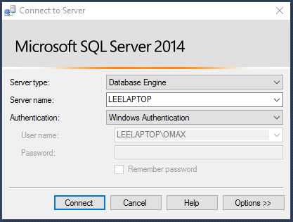 SSMS Connect to Server Dialog2