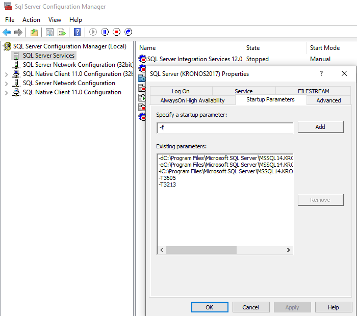 SQL Server Configuration Manager Startup Parameters
