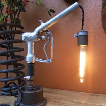Old Gas Nozzle used to Create Lamp