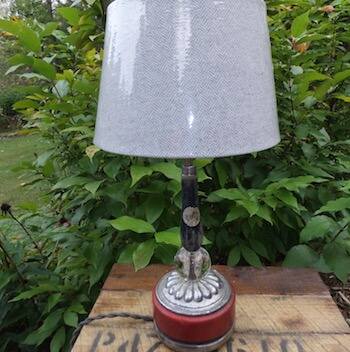 Recycled Lamp with Tool Handle and Glass