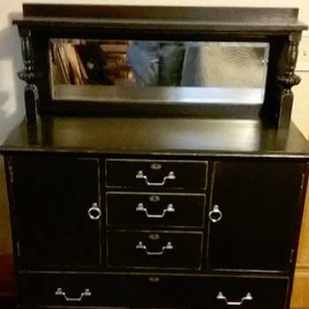 Distressed Black Buffet with Mirror and Silver Hardware