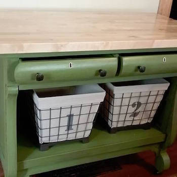 Kitchen Island with Curved Drawers & Basket Storage