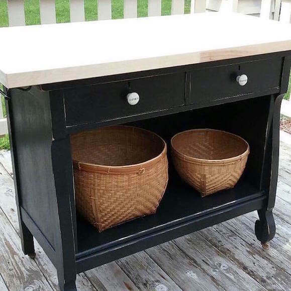 Black Dresser becomes a Kitchen Island with 2 Drawers and Shelf