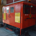 Fairmont Railway Motors A6-G1 self propelled rail car seats 6-9 people. On display outside the station