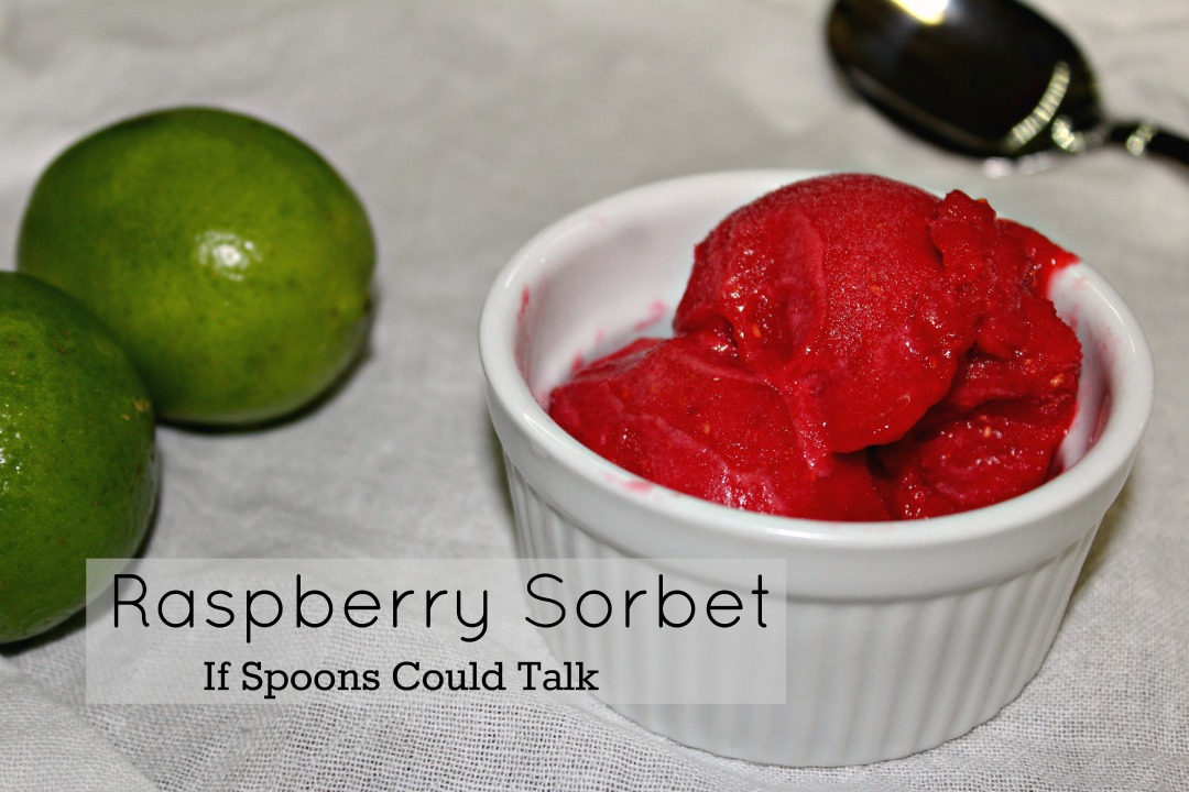 A simple 5 ingredient Raspberry Sorbet that is tart from the fresh raspberries and lime juice, sweet, and the perfect sweetness.