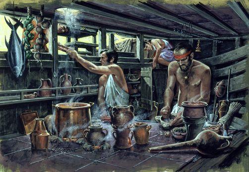 Cucina a bordo di una nave Bizantina