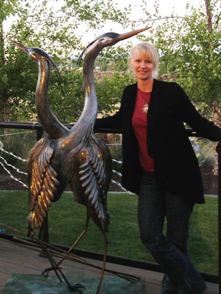 Kim Chavez with Herons Bronze Sculpture