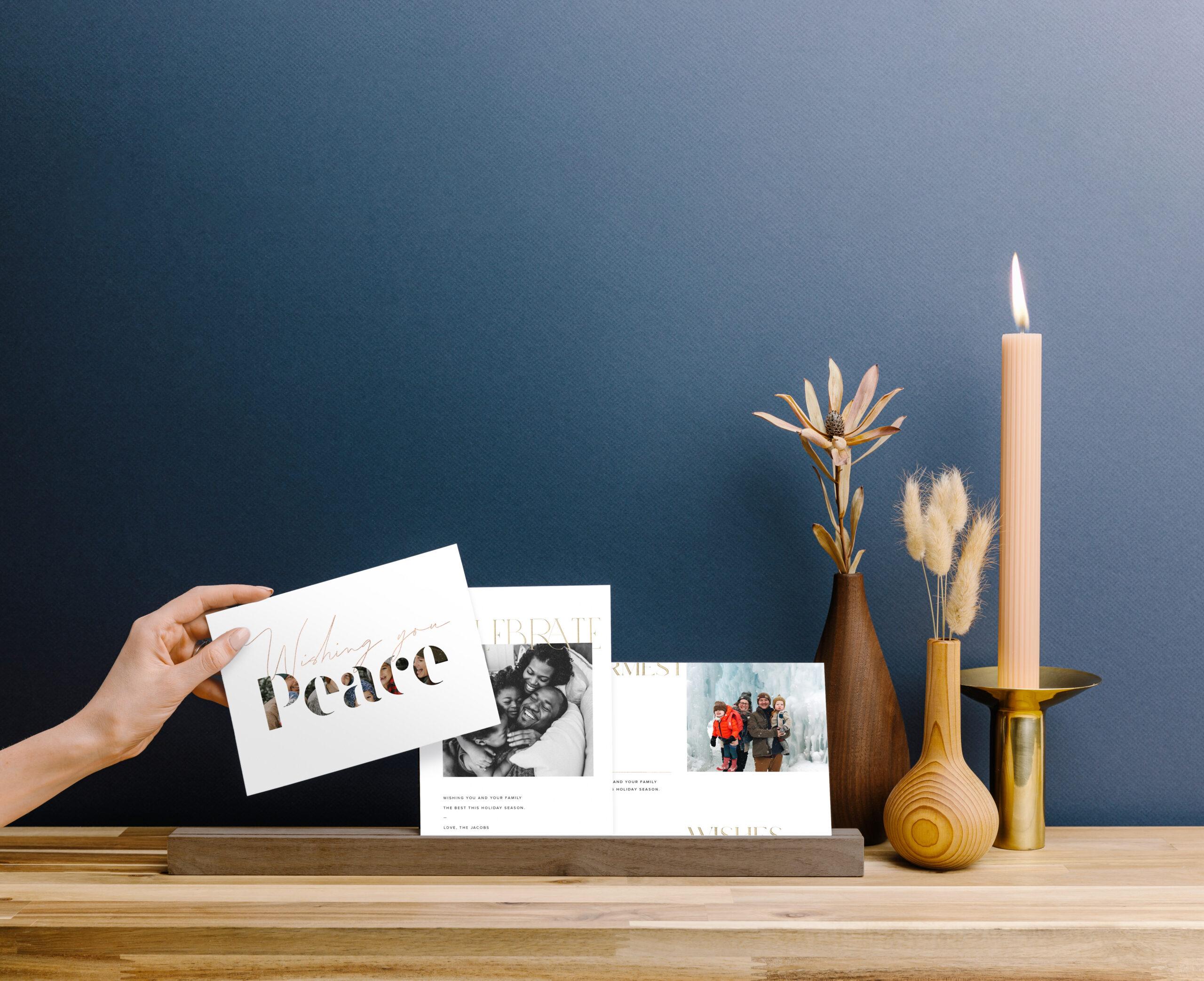 20191002-holiday-cards-in-wood-ledge-on-shelf