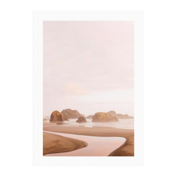Signature print of the Pistol River flowing into Pacific Ocean near Gold Beach, Oregon