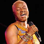 Angelique Kidjo performs at a concert.