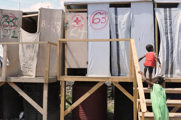 Children using latrines in Carrefour, Haiti.