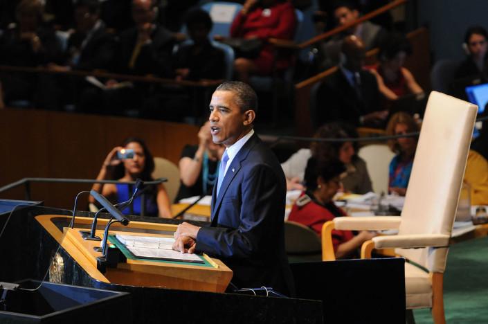 US President Barack Obama addresses the UN General Assembly