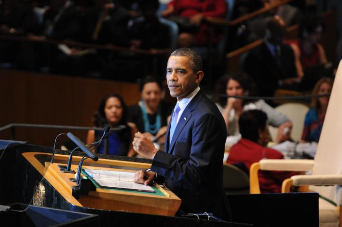 US President Barack Obama addresses the United Nations.