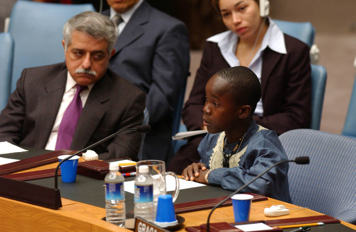 Wilmot, a child delegate from Liberia, addresses the United Nations Security Council.