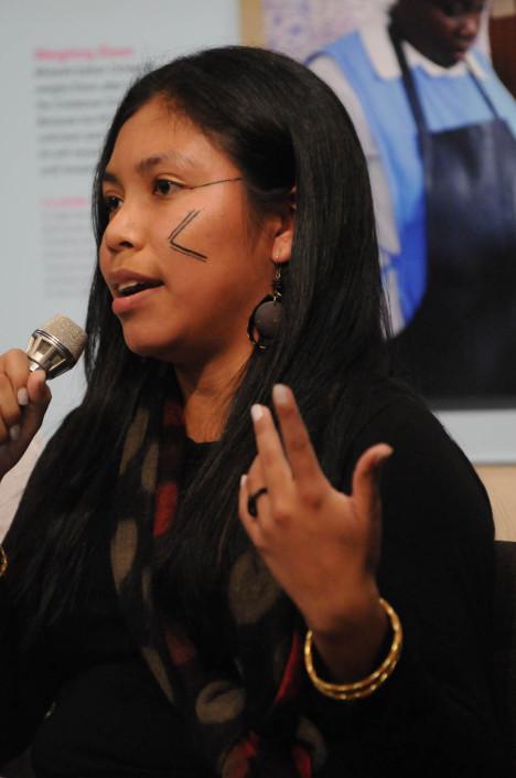 Indigenous youth advocate Indianara Ramires Machado speaks at UNICEF House.