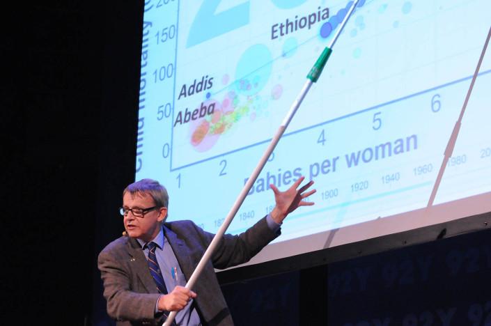 Professor Hans Rosling addresses a meeting.