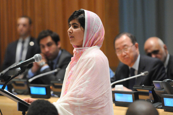 Education activist Malala Yousafzai of Pakistan addresses youth delegates at the Malala Day celebration at the UN.