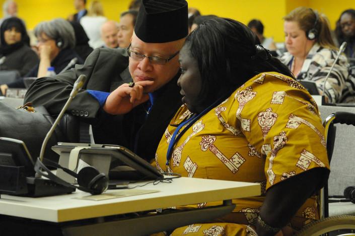 Disabilities activists confer at the UN