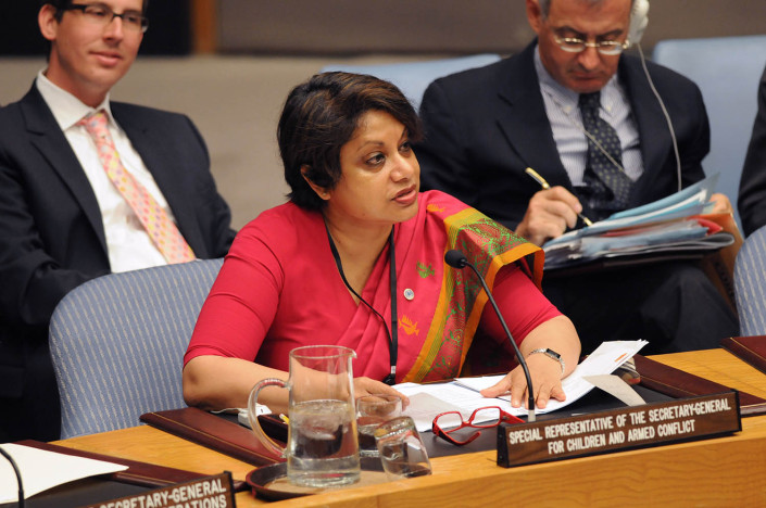 Radhika Coomaraswamy addresses the United Nations Security Council.
