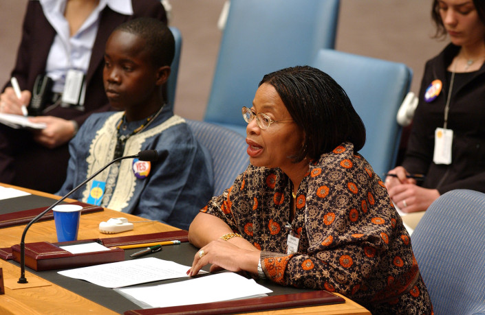 Graca Machel addresses the United Nations Security Council