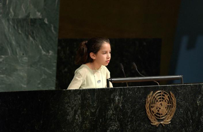 Gabriela Azurduy Arrieta, Bolivian Child Delegate addresses the UN General Assembly.